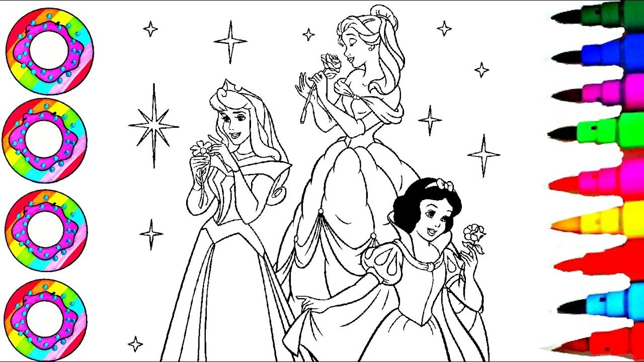 Disney For Girls L Princess Belle Snow White Aurora Sleeping Beauty Coloring Sheet Coloring Pages Youtube
