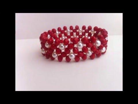 bbede6aacc28 brazalete rojo cristal con perla