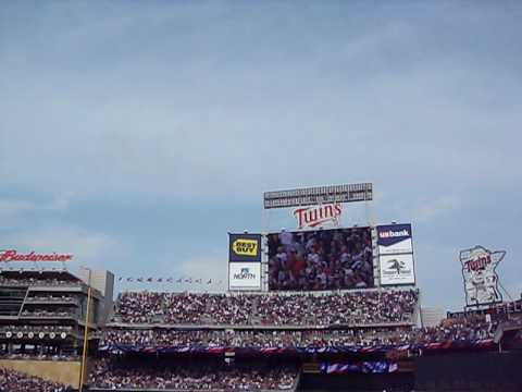 Target Field: Minnesota Twins First Ever Game!  National Anthem F-16 Fly-over