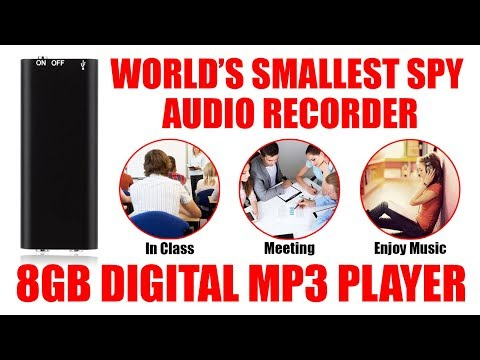 Worlds Smallest Digital SPY Hidden Audio Voice Recorder I MP3 Player  I 8GB