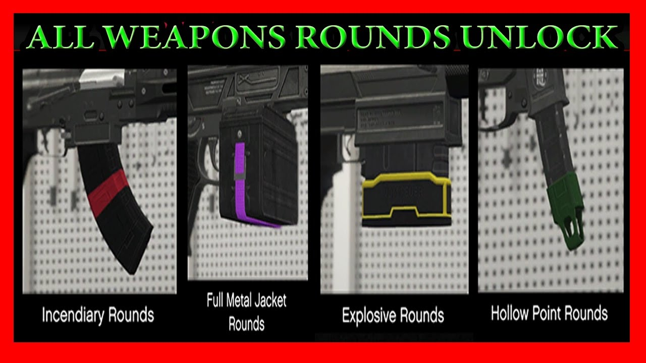 GTA 5 All Explosive, Incendiary, Tracer, Hollow Point, Full Metal Jacket  And Armor Piercing Rounds