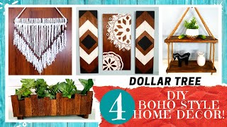 DIY BOHO Style Home Decor | 4 DOLLAR TREE Bohemian Projects | SCRAP WOOD Challenge Collab 2020