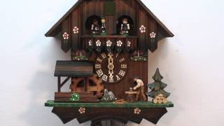 Woodchopper & Water Wheel Cuckoo Clock