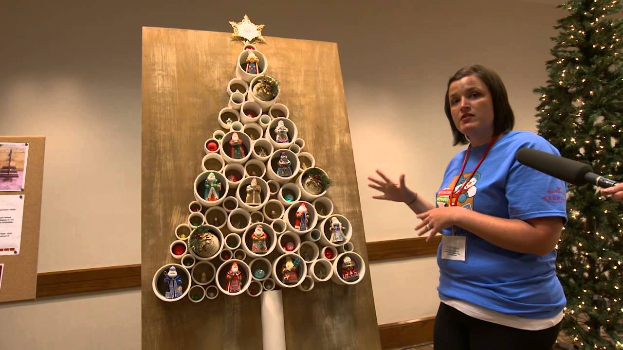 diy pvc christmas tree with the hallmark keepsake ornament team - Hallmark Christmas Decorations