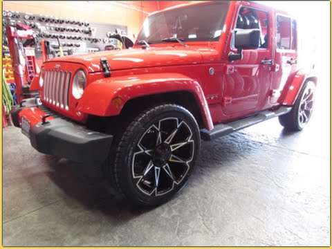22 Inch Tires >> 2016 JEEP WRANGLER SAHARA LOWERED RIDING ON 22 INCH CUSTOM RIMS & TIRES - YouTube