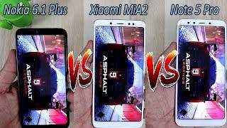 Nokia 6.1 Plus (X6) VS Xiaomi Mi A2 VS Redmi Note 5 Pro Comparision !! Speed Comparision ,HINDI