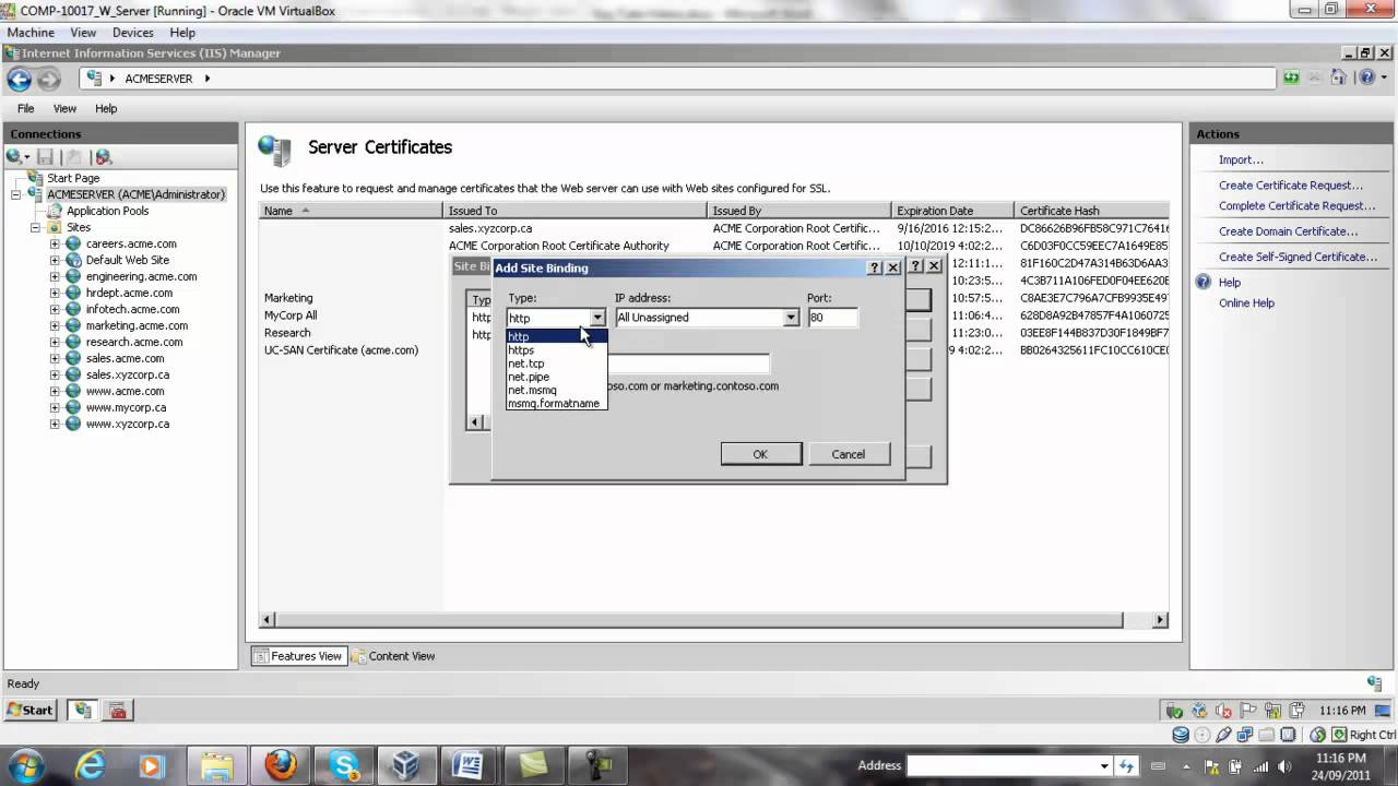 Create Wild Card Digital Certificate In Iis Youtube