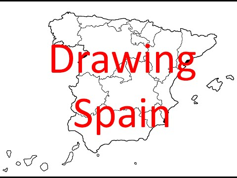 Map Of Spain Drawing.Drawing Map Of Spain Part 1 Country And Autonomous