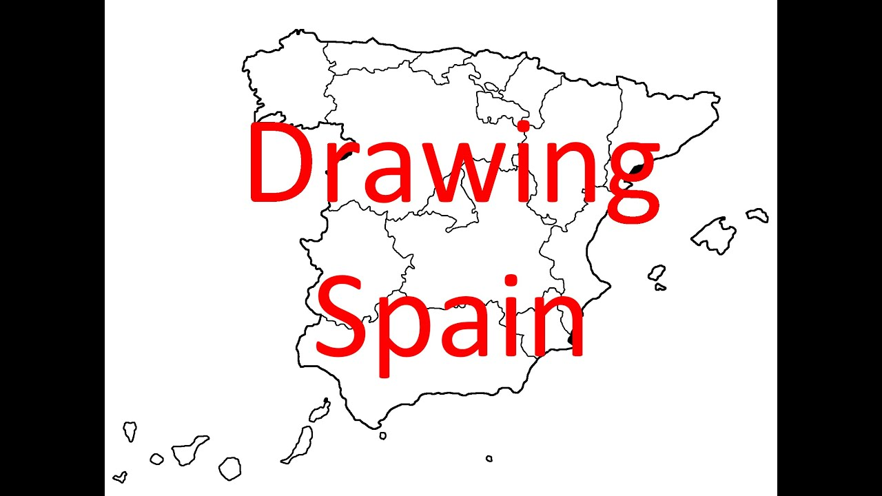 Map Of Spain Drawing.Drawing Map Of Spain Part 1 Country And Autonomous Communities Spanish Mapper
