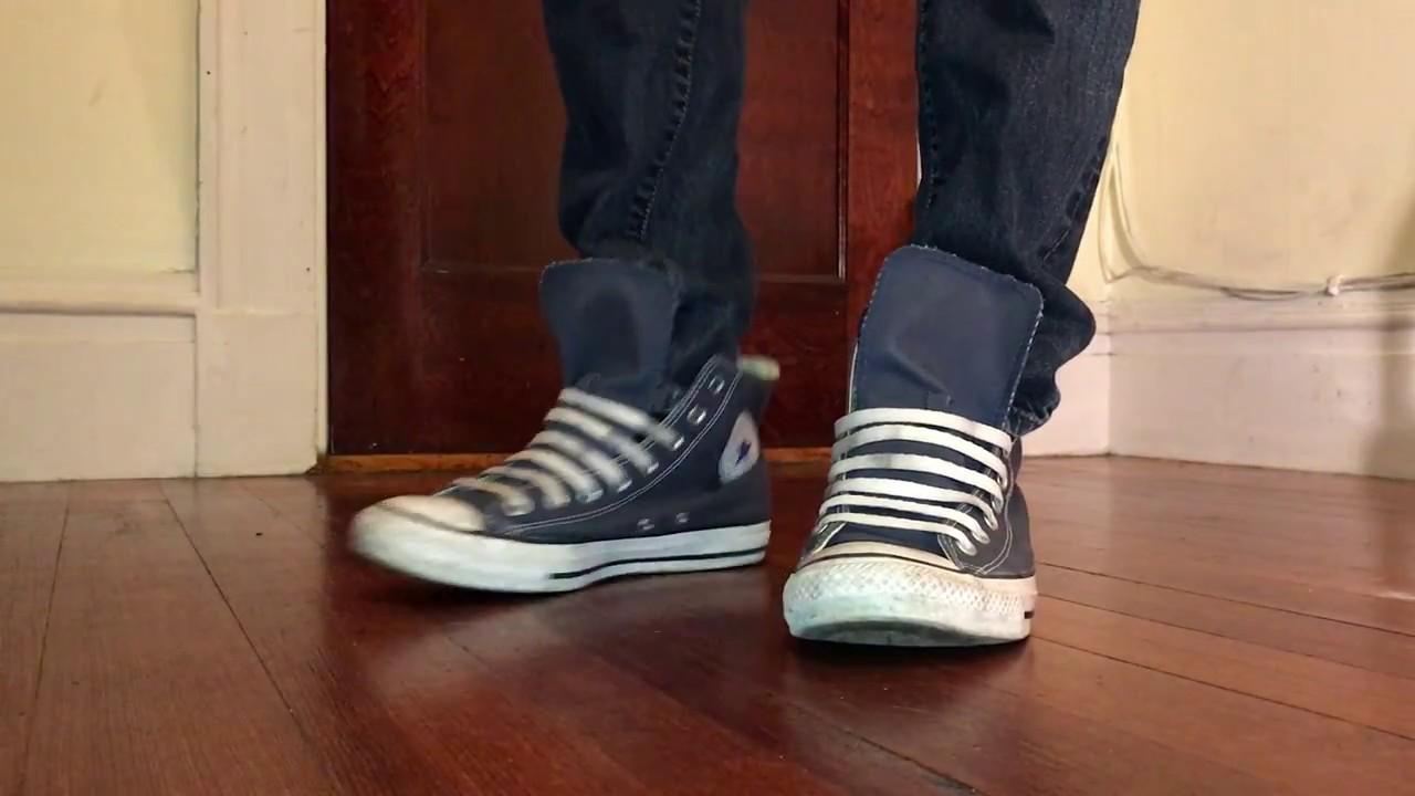 Converse shoeplay navy high tops - YouTube a6395e5e4