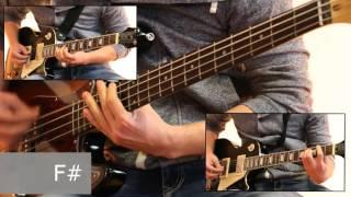 Как играть на бас гитаре Марионетки - Король и шут  ( видеоурок Guitar riffs) + табы