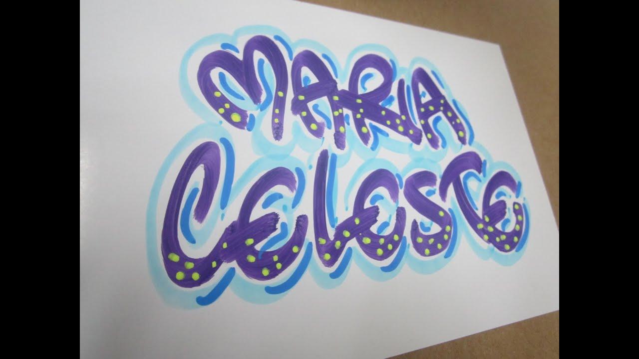 Maria celeste nombre decorado suscriptor 077 youtube - Letras de nombres para decorar ...