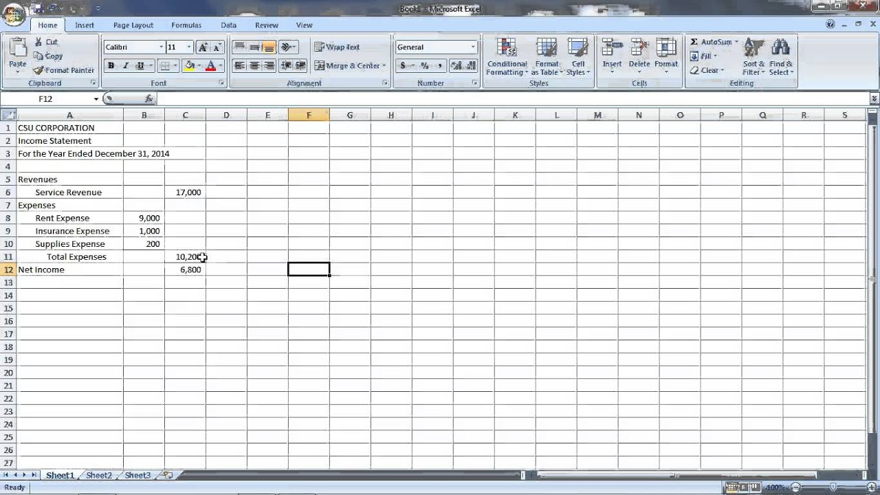 AC201 Chapter 1 Excel Demo for Principles of Financial Accounting ...