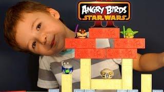 Игрушки Энгри Бёрдс Звёздные Войны на русском. Angry Birds Star Wars Jenga Jedi Battle Toys Review