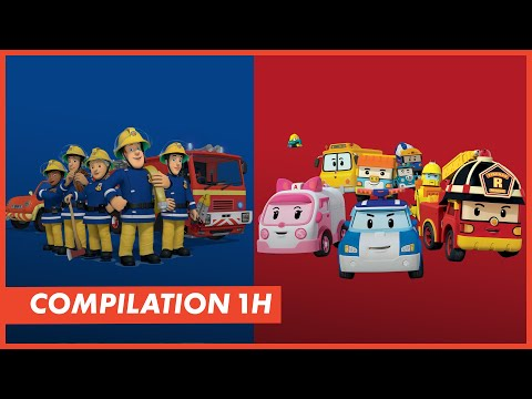 Compilation 1h avec robocar poli sam le pompier et zoubi - Dessin anime robocar poli ...