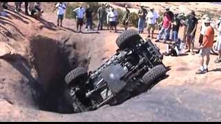 Jeep Rubicon flop in a Hells Revenge tub in Moab