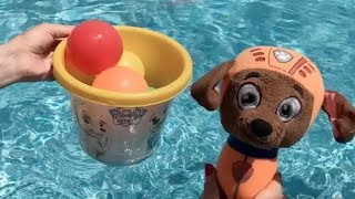 LEARN COLOURS PAW PATROL BABY PLAY IN THE POOL NEW PAW PATROL EPISODE SPANISH