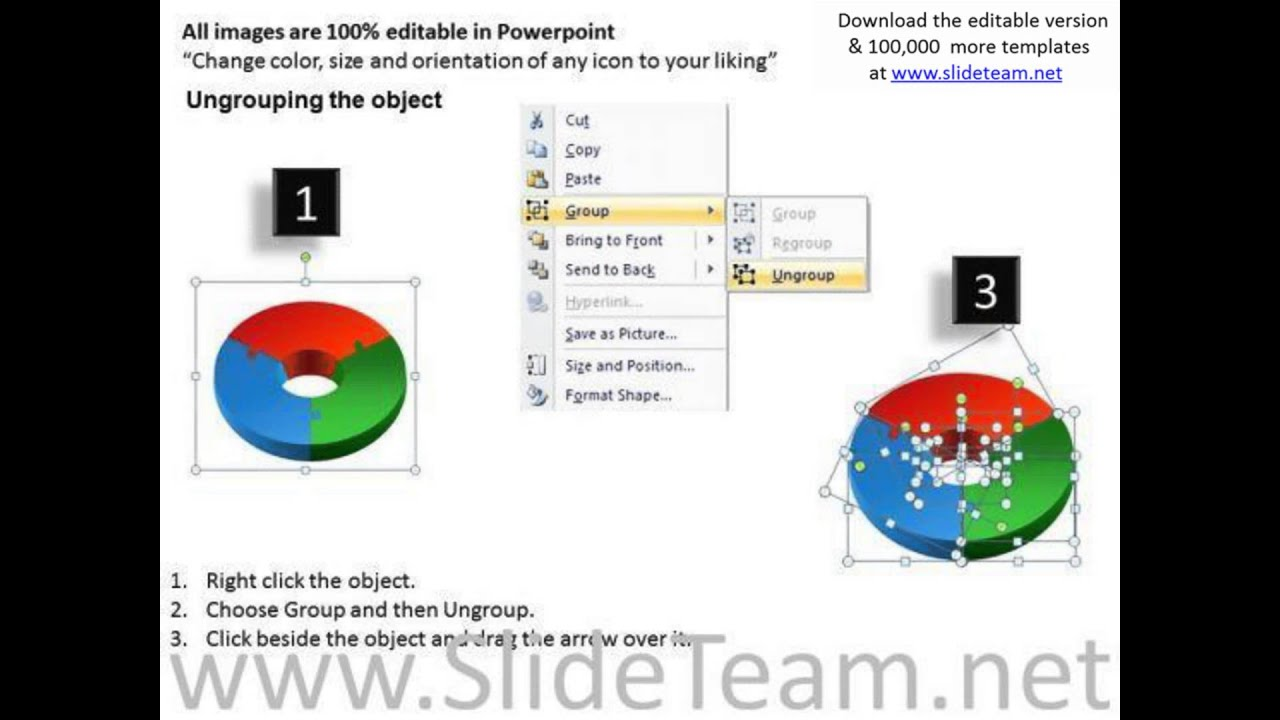 chromatic 3d circular puzzle 3 pieces powerpoint slides and ppt