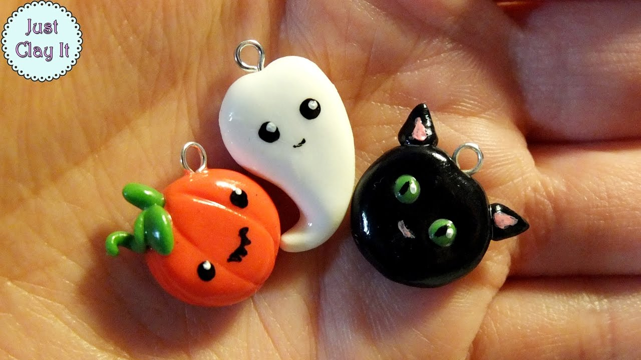 3 diy halloween polymer clay charms tutorial - youtube