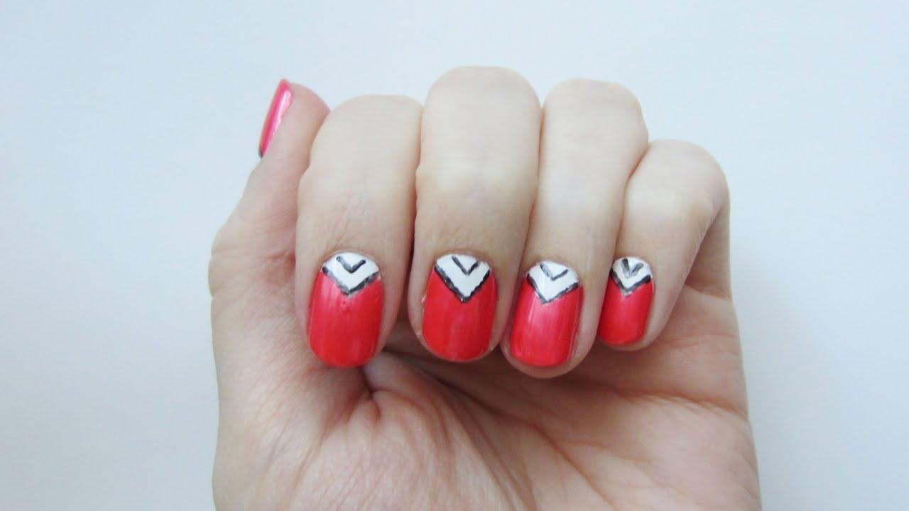 Nageldesign Dreiecke in weiß und metallic   \'seni Nageldesign - YouTube