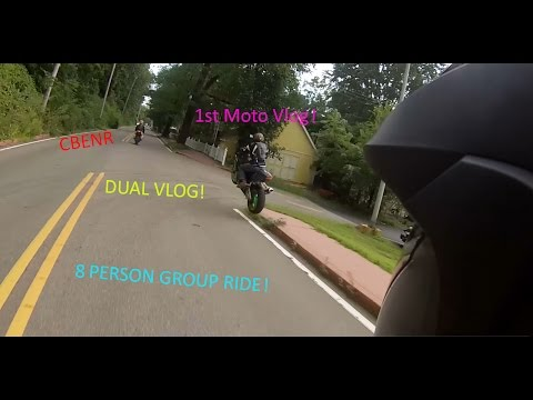 1st MotoVlog and it's a DUAL VLOG! 8 People Group Ride! with CBENR