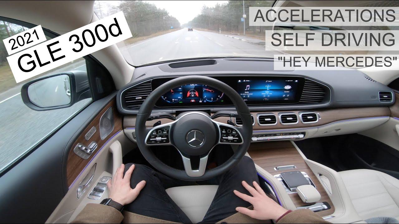 "2021 Mercedes GLE 300d - accelerations, ""Hey Mercedes"", Self driving - POV drive [4K]"