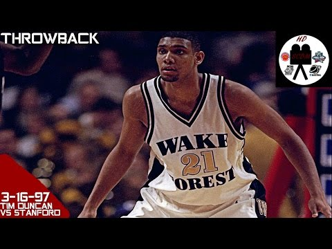 Tim Duncan Wake Forest Full Highlights vs Stanford (3-16-97) 18 Pts 20 Rebs 2 Blks, LAST COLL GAME!