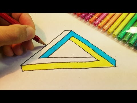 How To Draw The Impossible Penrose Triangle for kids - Optical Illusion
