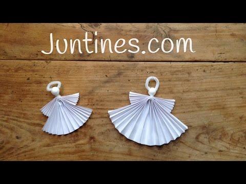 Angelitos de origami fácil para niños, geniales como adornos navideños de papel