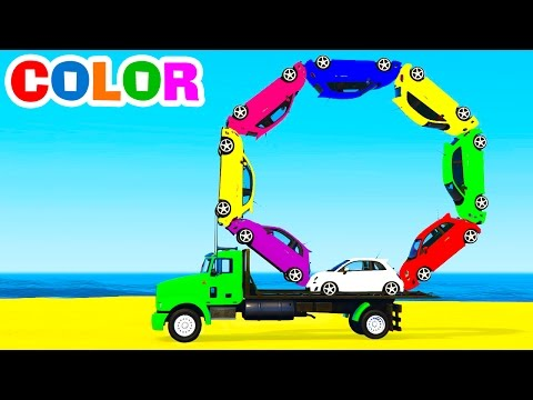 LEARN COLORS with Small CARS on Truck in Spiderman Cartoon for Kids Learn Numbers & Color Video