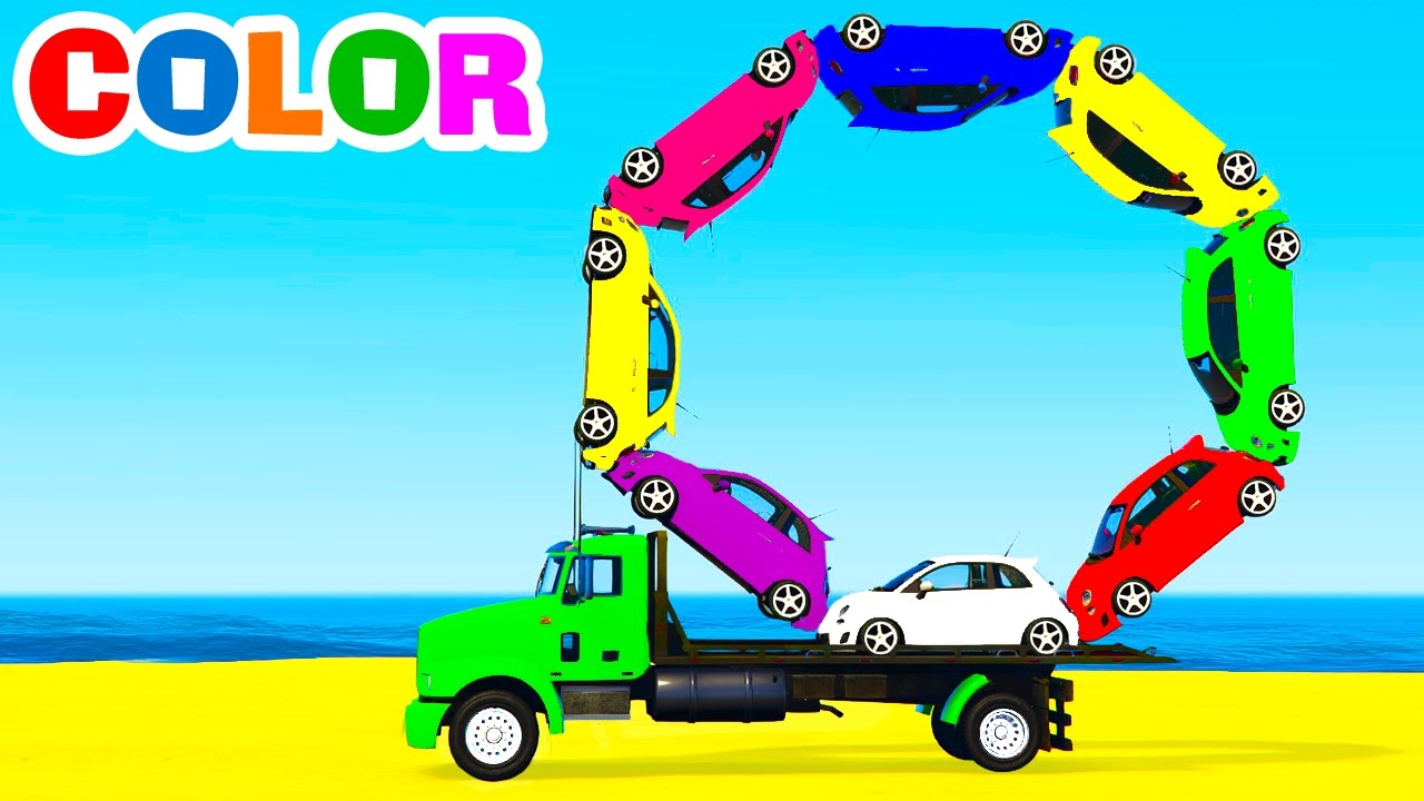 LEARN COLORS with Small CARS on Truck in Spiderman Cartoon for Kids Learn Numbers