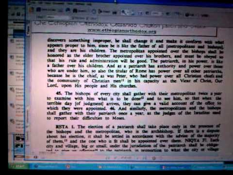 ETHIOPIAN CANON LAW: FETHA NAGAST & ROMAN CATHOLIC Controversy - Rastafari Study