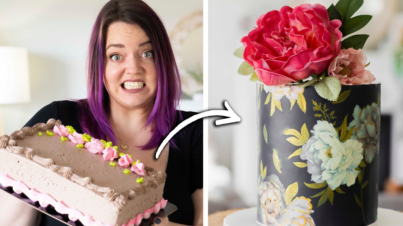 Turning a $20 Grocery Store Cake into a Trendy Wedding Cake!