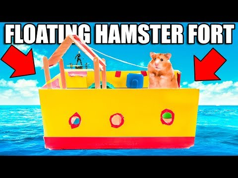 Hamster BOX FORT Boat On WATER!