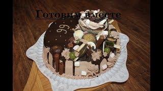 Оригинальное украшение торта сладостями