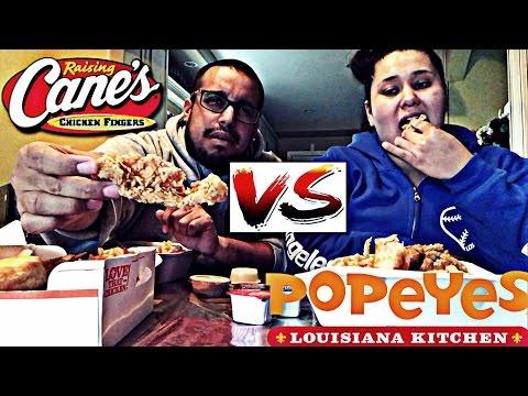Eating Raising Cane's & Popeye's Chicken mukbang/eating show (Popeye's Chicken VS Raising Cane's