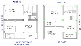 25 × 25 east face duplex house plan map naksha