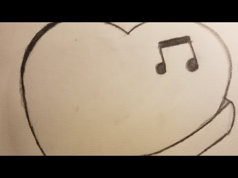 Time laps drawing- heart with banner and music note