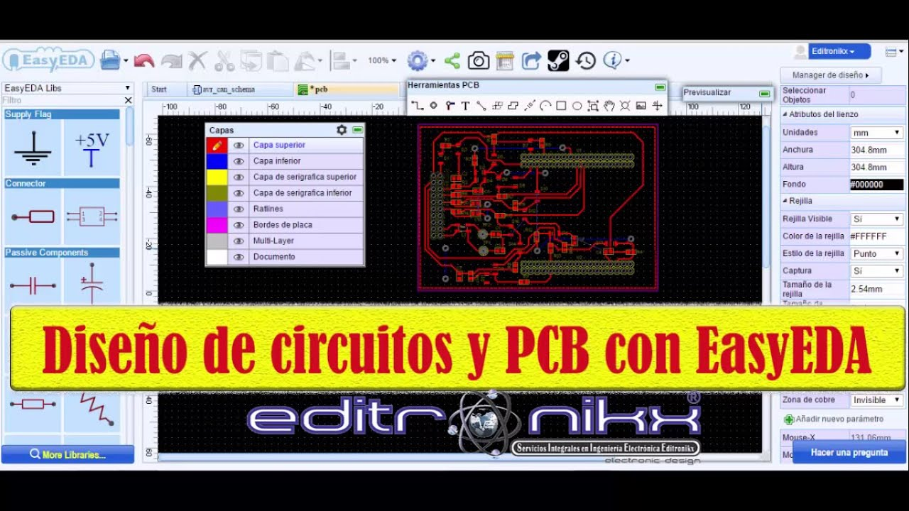 pcb circuit design and with EasyEda online