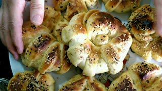خبز بعجينة البطاطا محشي بالجبن عجينة رائعة جدا