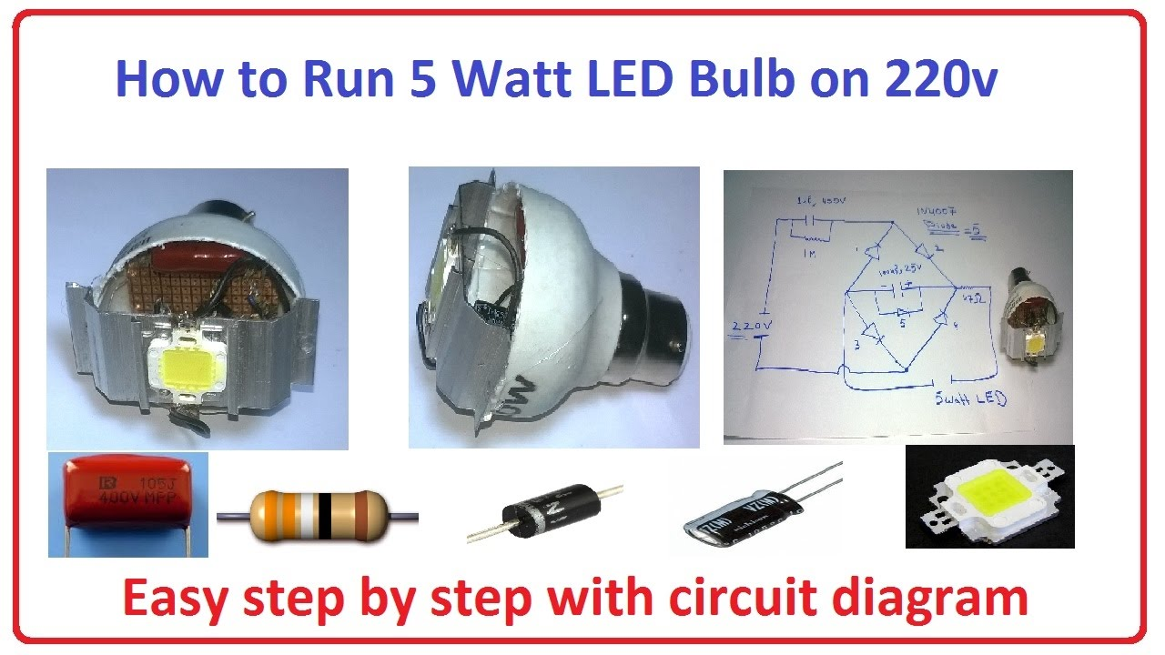 how to run 5 watt led bulb on 220v easy step by step with circuit diagram [ 1280 x 720 Pixel ]