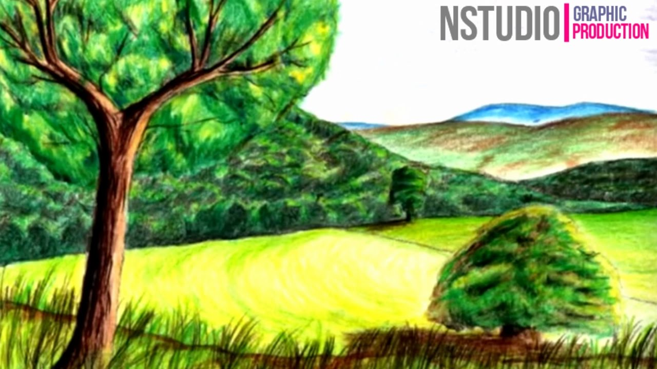 How to Draw Realistic Landscape with Colored Pencil - YouTube