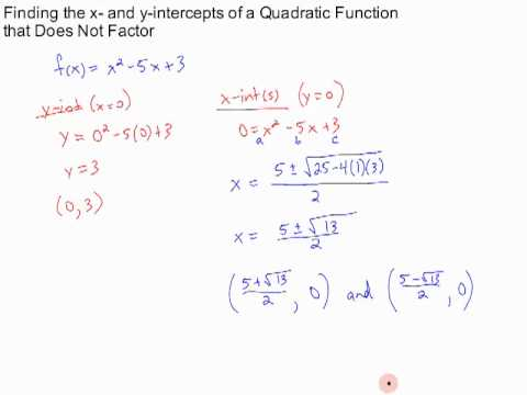 finding x- and y-intercepts of a quadratic function - YouTube