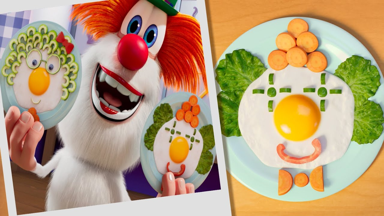 Booba 🤡 Food Puzzle: Fried Egg Clown 🥚🍳 Funny cartoons for kids - Booba ToonsTV