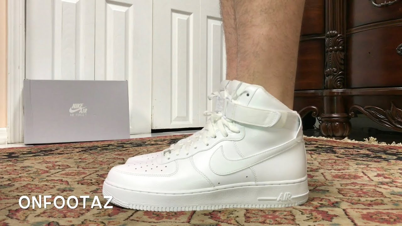 cheap for discount 175bf 5b91c Nike Air Force 1 High White On Foot