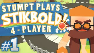 Stikbold! - #1 - Dive Dip Duck and DODGEBALL! (4 Player Stikbold Gameplay)