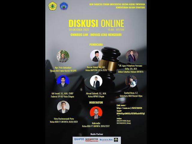 LIVE DISKUSI ONLINE:  OMNIBUS LAW INOVASI ATAU MENGKEBIRI?  KEMENTERIAN KASTRAT BEM FT UNTIRTA