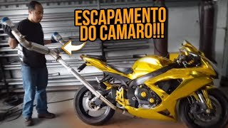 INSTALEI O ESCAPE DO CAMARO NA MOTO