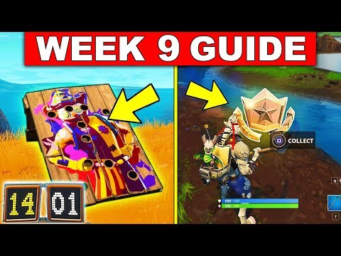 Fortnite WEEK 9 CHALLENGES GUIDE! – CARNIVAL CLOWN BOARD LOCATIONS, SECRET BATTLESTAR LOCATION