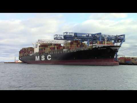 MSC Methoni loading containers in Boston Massachusetts November 7th 2014